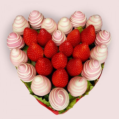 Pink Chocolate Covered Strawberries Heart