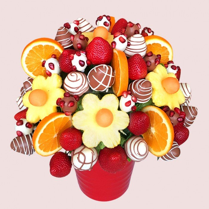 Pomegranate Fruit Bouquet | Fresh Edible Bouquets by fruity-lux.co.uk